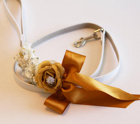 Gold Custom Leash, Pet Wedding accessory, High quality Leather, Gold wedding accessory, Dog Leash