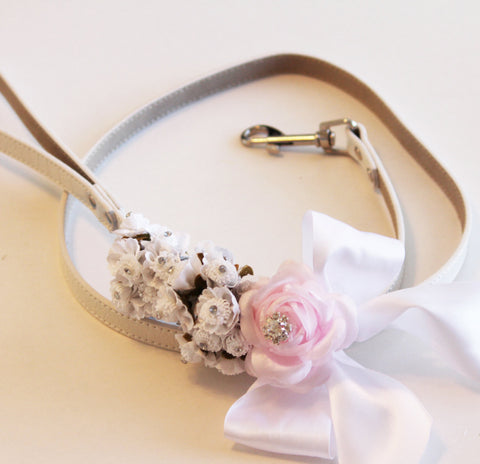 Pink white wedding dog Leash, Wedding accessory, High quality Leather, Wedding accessory, Dog Leash
