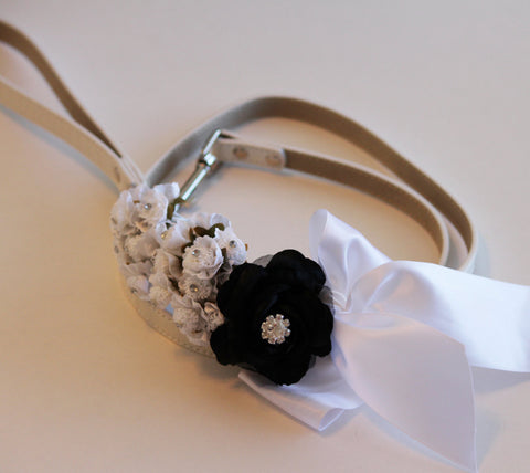 Black white wedding dog Leash, Wedding accessory, High quality Leather, Wedding accessory, Dog Leash