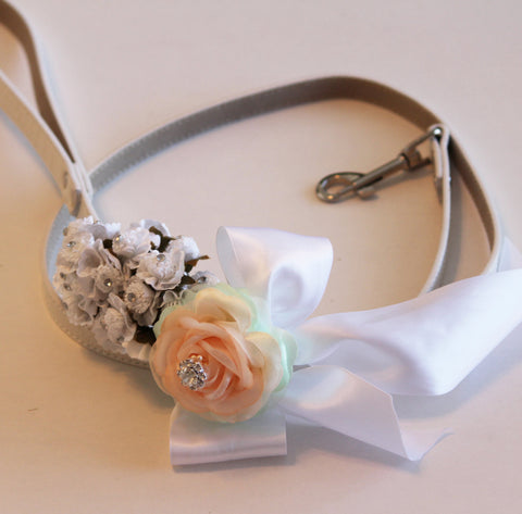 White Peach and Mint wedding dog Leash, Wedding accessory