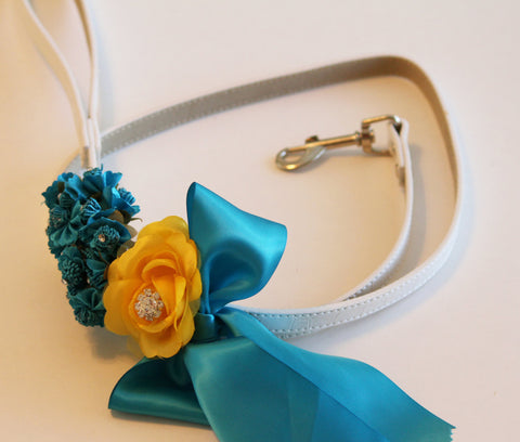 Blue Yellow wedding dog Leash, Wedding accessory, High quality Leather, Turquoise Yellow Wedding accessory, Dog Leash