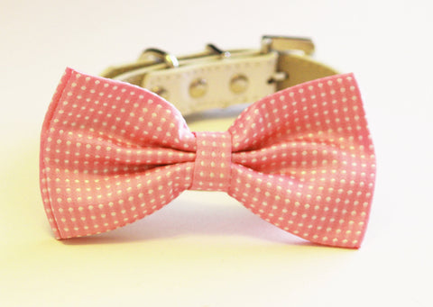 Pink Polka dots dog Bow tie, Pink Pink Dog Bow Tie with high quality white leather collar, , Cute Dog Bowtie, Wedding acceossry , Wedding dog collar