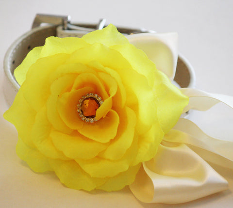 Yellow wedding dog collar, Floral dog Collar- Yellow flower and Rhinestone, Wedding dog accessory