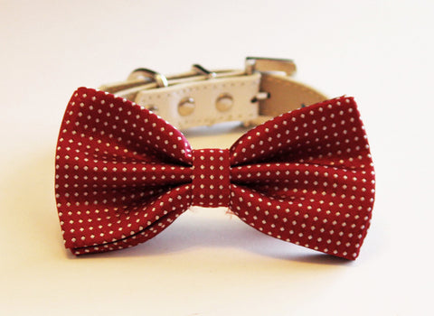 Red wedding 2 collar, Floral dog Collar and bow tie, Wedding dog accessory , Wedding dog collar