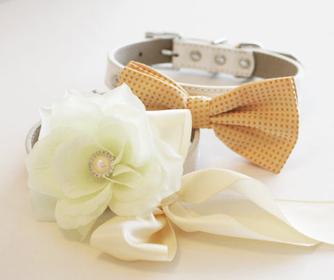 Ivory Wedding dog collars, 2 dog collars, Ivory Floral dog Collar and Bisque Bow tie- Flower and Rhinestone, Wedding dog accessory
