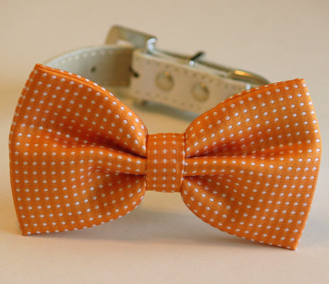 Orange Polka dots dog Bow tie with high quality leather collar, Orange Wedding , Wedding dog collar