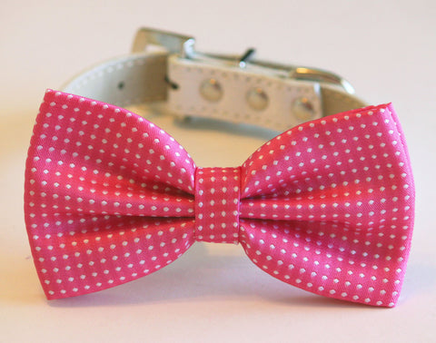 Hot Pink Polka dost dog bow tie, high quality white leather collar, Cute Dog Bowtie, Cute Dog Collar