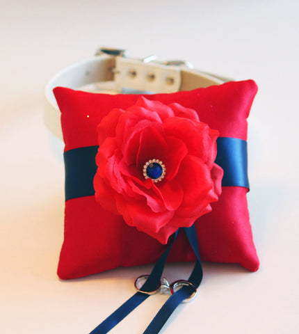 Navy Blue Red Dog Ring Pillow attach to Collar, Pet wedding accessory , Wedding dog collar