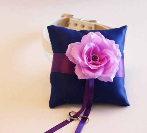 Royal Blue Purple Lavender Ring Pillow, Ring Pillow attach to the High quality Leather Collar, Ring Bearer Pillow, Pet wedding accessory