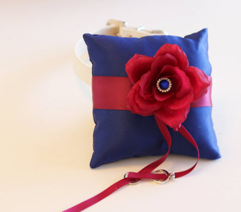 Royal Blue Raspberry Ring Pillow, Ring Pillow to Leather Collar