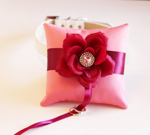 Cranberry Blush Ring Pillow attach to Collar, Pet wedding accessory