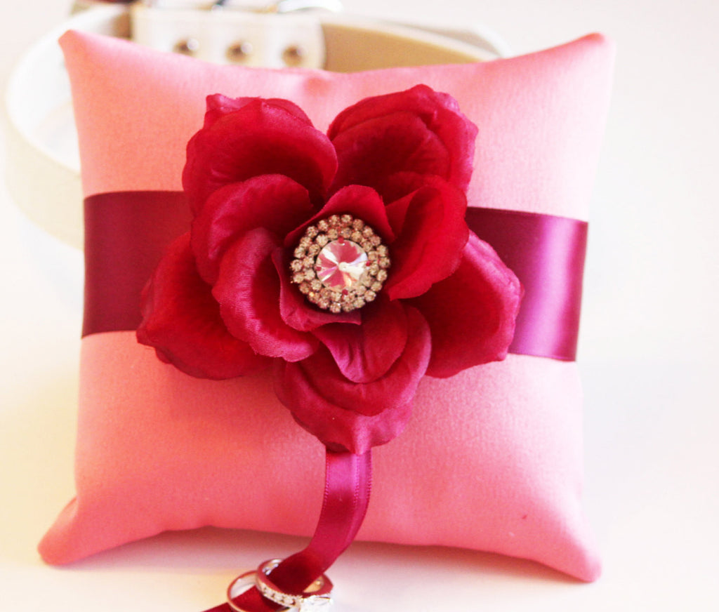 Cranberry Blush Ring Pillow,Ring Pillow attach to High quality ...