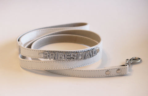 White Leather Leash,Bridesmaid Wedding accessory, High quality, Wihte Dog leash with bling, Wedding pet accessory