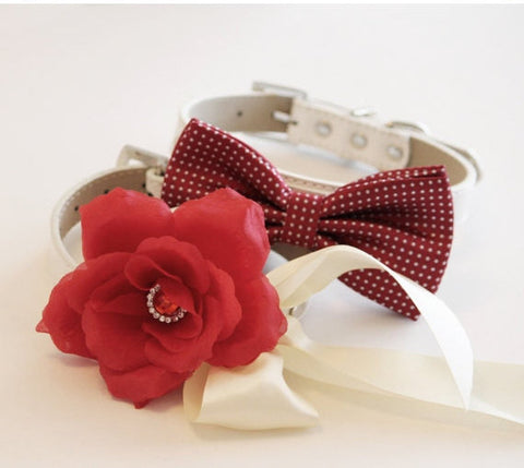Red wedding 2 collar, Floral dog Collar and bow tie, Wedding dog accessory