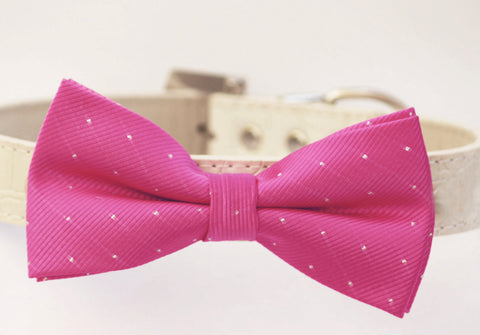Hot Pink Dog Bow Tie, High quality Leather, Pink wedding accessoy