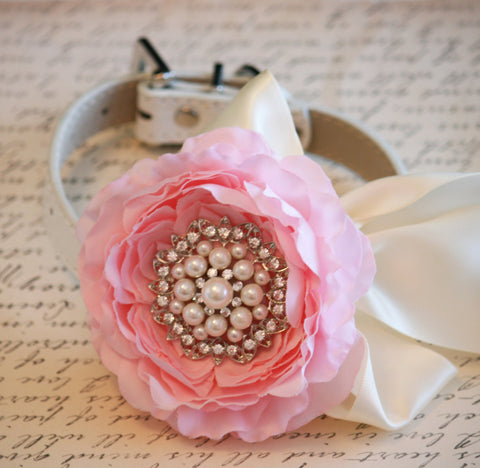 Soft Pink Floral Dog Collar, Pet Wedding, Flower with Rhinestone, Pink Lovers