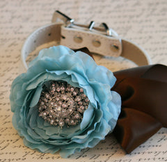 Tiffany Blue and Brown Floral Dog Collar, Vintage wedding, Pet Wedding Accessory, Rhinestone, Dog Lovers - LA Dog Store  - 1
