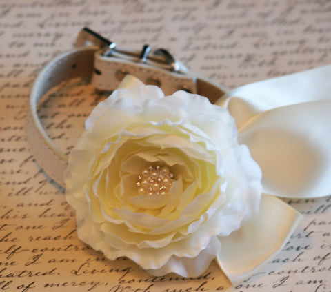 Ivory Floral Dog Collar, Pet Wedding Accessory, Ivory Wedding Accessory, Ivory wedding idea, Pearl and Rhinestone , Wedding dog collar