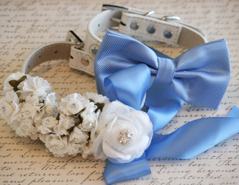 Blue 2 Dog Collars, Bow tie and Floral collar, Pet wedding, Blue Wedding Accessory