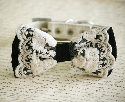 Black Dog Bow Tie, Vintage Wedding, Pet wedding, boho wedding
