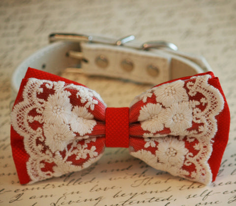 Lace Red Dog Bow Tie, Pet wedding accessory, Red Wedding accessory, Dog Lovers, Victorian wedding , Wedding dog collar