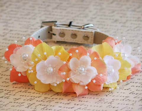 Peach and Yellow Floral Dog Collar, Pet wedding accessory, Peach wedding idea, Pearl and Rhinestone, Wedding idea , Dog Lovers, Boho wedding , Wedding dog collar