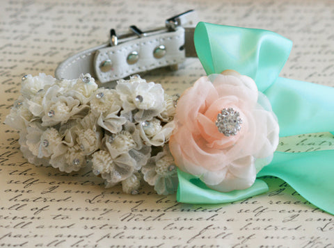 White, peach and mint Wedding Floral dog collar, Pet Wedding , Wedding dog collar