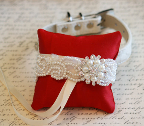 Red Ring Pillow attach to Collar, Ring Bearer Pet wedding, Love Red, Red Wedding
