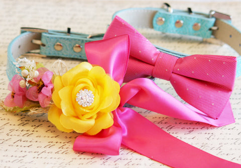 Hot Pink and Yellow 2 dog collars, Pet Wedding accessory, Floral and Dog Bow tie collar, Colorful wedding