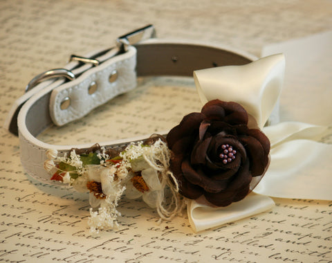 Floral Dog collar, Country rustic Pet Wedding, Neutral, Country Western Wedding , Wedding dog collar