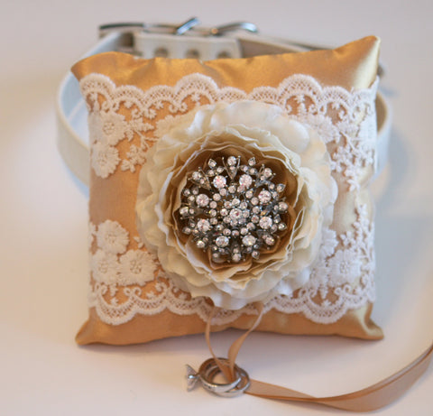 Ivory and Gold Wedding Ring Pillow, Dog ring bearer pillow, Gold Wedding idea, Ring Pillow attach to dog Collar, Pet wedding accessory, Gold