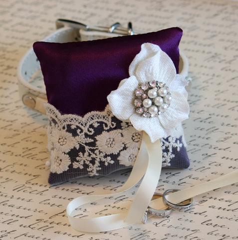 Purple Victorian Ring Pillow, Ring Pillow attach to White dog Collar, Ring Bearer Pillow, Pet wedding accessory, Vintage Wedding ideas