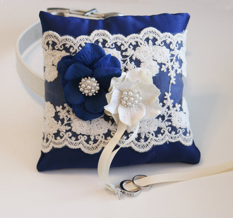 Royal Blue Ring Pillow, Dog ring bearer pillow,Victorian Ring Pillow, Ring Pillow attach to dog Collar, Pet wedding accessory, Spring