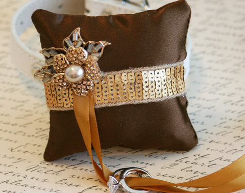 Gold Ring Pillow dog Collar, Ring Bearer Pillow Pet wedding, Brown Gold Wedding