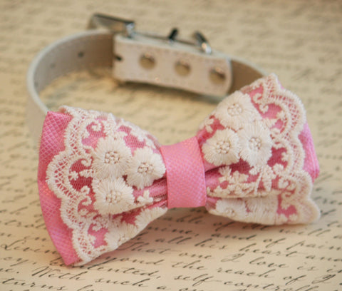 Pink Lace Dog Bow Tie collar, Pink Lovers, Pet wedding accessory , Wedding dog collar