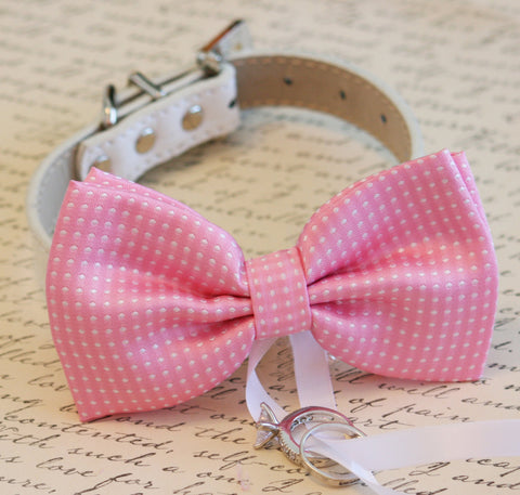 Pink Dog Bow Tie, Dog ring bearer, Pet Wedding accessory , Wedding dog collar