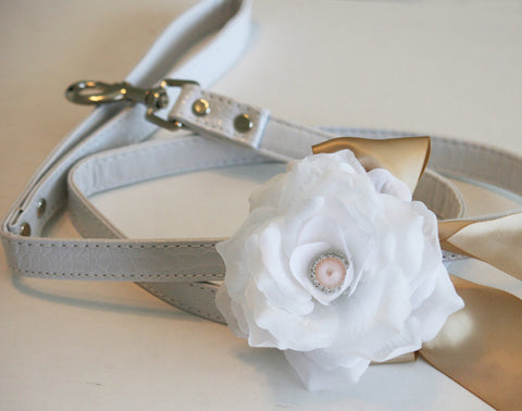 Floral Dog Leash, Pet wedding accessory, Champagne Wedding accessory, Dog Lovers
