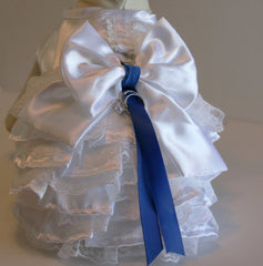 Royal Blue wedding accessory, Dog ring bearer, White Dog dress, Royal Blue Wedding idea, Pet lovers, Dog harness, Lace Dress - LA Dog Store  - 1