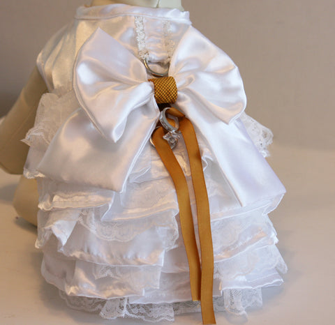 White Dog dress, ring bearer, Gold Wedding, Pet lovers