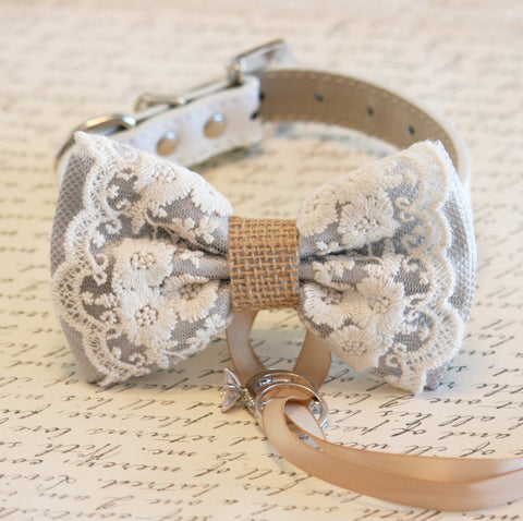 Gray Lace Burlap Dog ring bearer, Rustic, Bohemian, Proposal