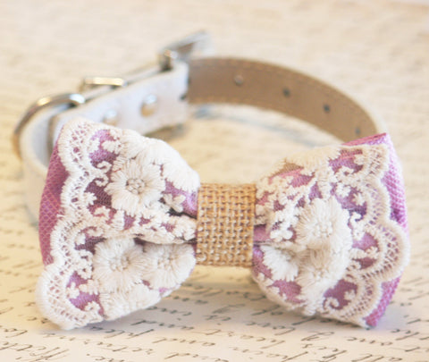 Lavender Dog Bow Tie collar Lace Burlap Bow, Rustic, boho