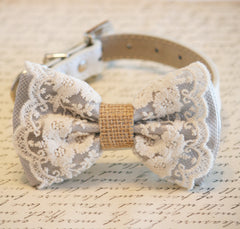 Gray Dog Bow Tie, Lace and Burlap, Rustic, Country wedding, Dog Lovers,Pet wedding accessory, Cute, Chic, Classy - LA Dog Store  - 1