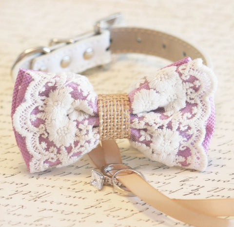 Bohemian Dog Bow Tie collar, Lavender Lace and Burlap, ring bearer wedding, Rustic, Proposal , Wedding dog collar