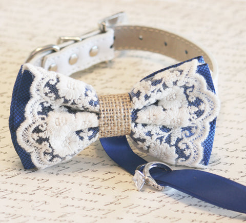Royal Blue Dog Bow Tie Wedding Collar, Lace and Burlap ring bearer, Rustic, Bohemian, Proposal , Wedding dog collar