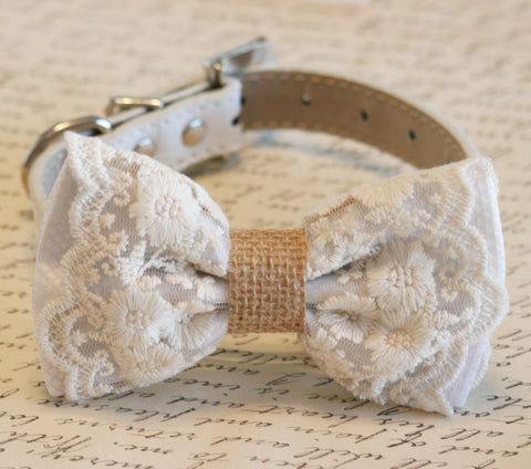 White Lace and Burlap Dog Bow Tie collar, Rustic, Country wedding, boho wedding , Wedding dog collar