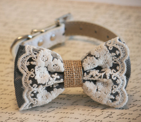 Charcoal Dog Bow Tie, Lace and Burlap, Rustic Charcoal wedding pet collar , Wedding dog collar