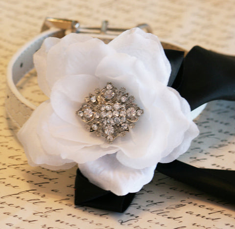 Black and White Floral dog collar Wedding accessory, Victorian , Wedding dog collar