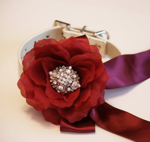 Marsala Floral dog collar, Pet accessory, Marsala Wedding accessory