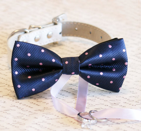 Navy and Lavender Dog Bow Tie ring bearer Wedding, Navy and Lavender wedding , Wedding dog collar