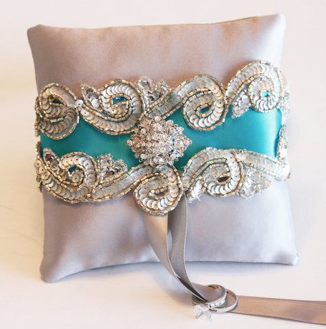 Blue Turquoise Ring Pillow, Pet Wedding, Dog Ring Bearer collar